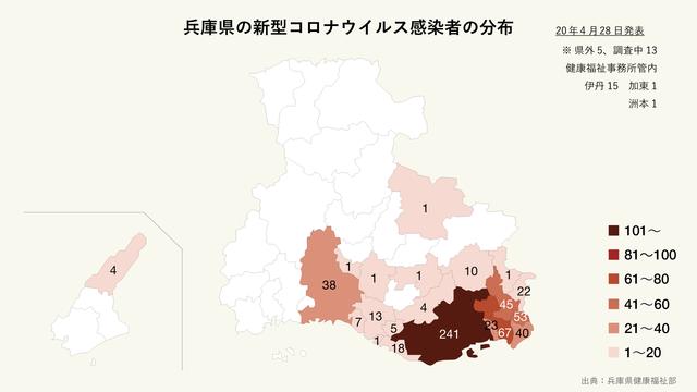 兵庫県の新型コロナウイルス感染者の分布