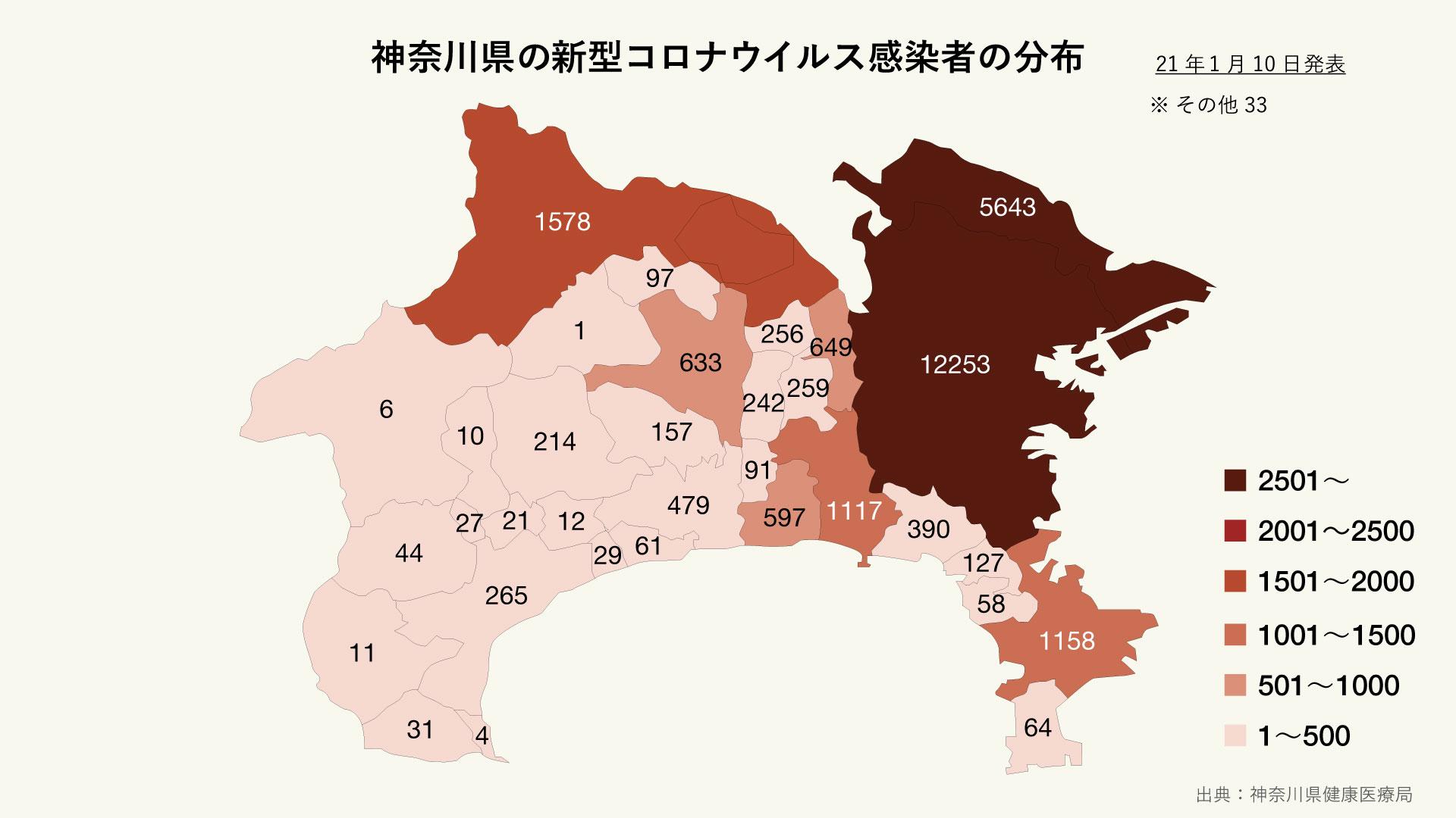 神奈川県の新型コロナウイルス感染者の分布
