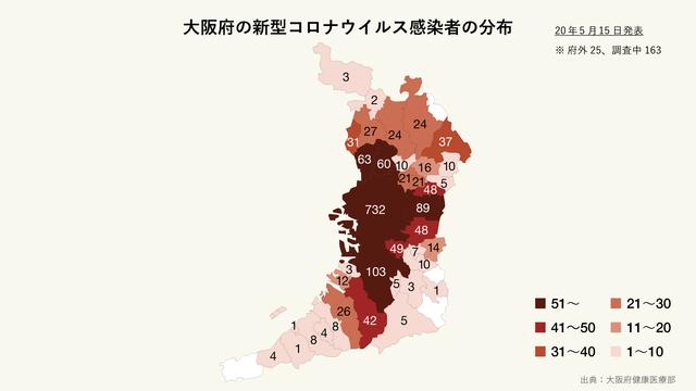 大阪府の新型コロナウイルス感染者の分布
