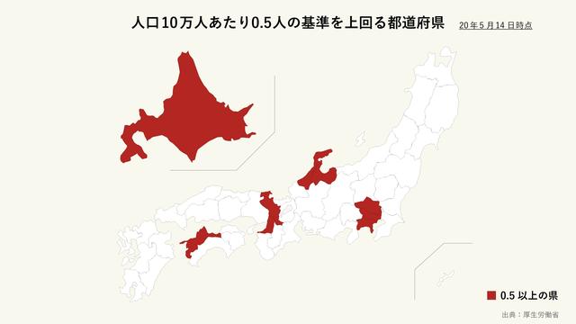 人口10万人あたり感染者0.5人の基準を上回っている都道府県