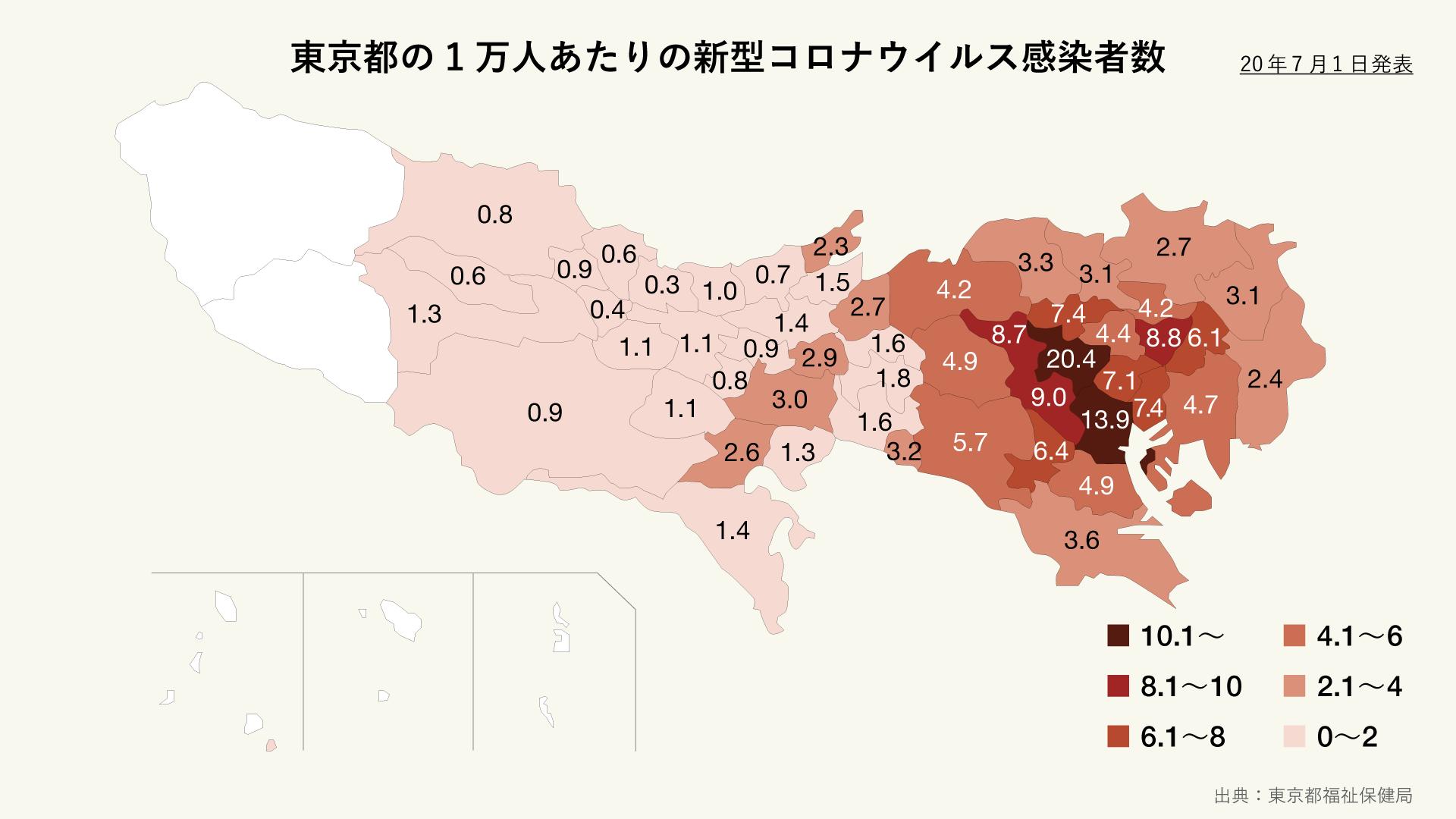 東京都の1万人あたりの新型コロナウイルス感染者数