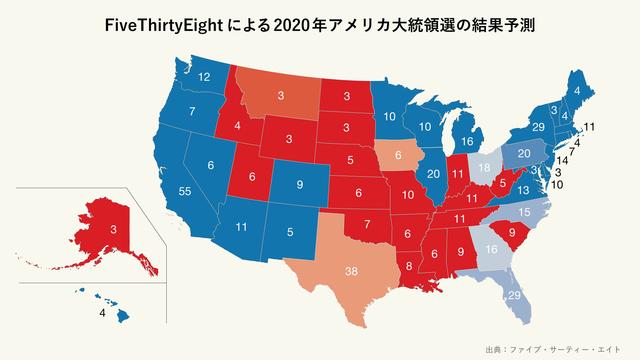 FiveThirtyEightによる2020年アメリカ大統領選の結果予測