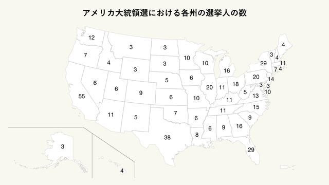 アメリカ大統領選における各州の選挙人の数