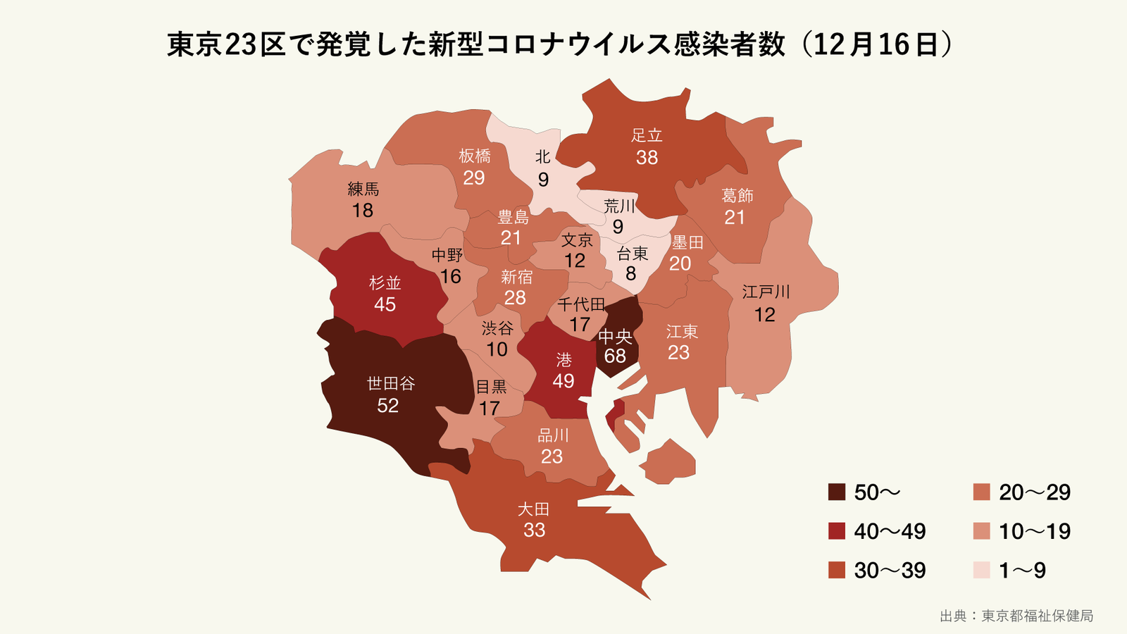 12月16日に発覚した東京23区の区ごとの新型コロナウイルス感染者数(マップ)