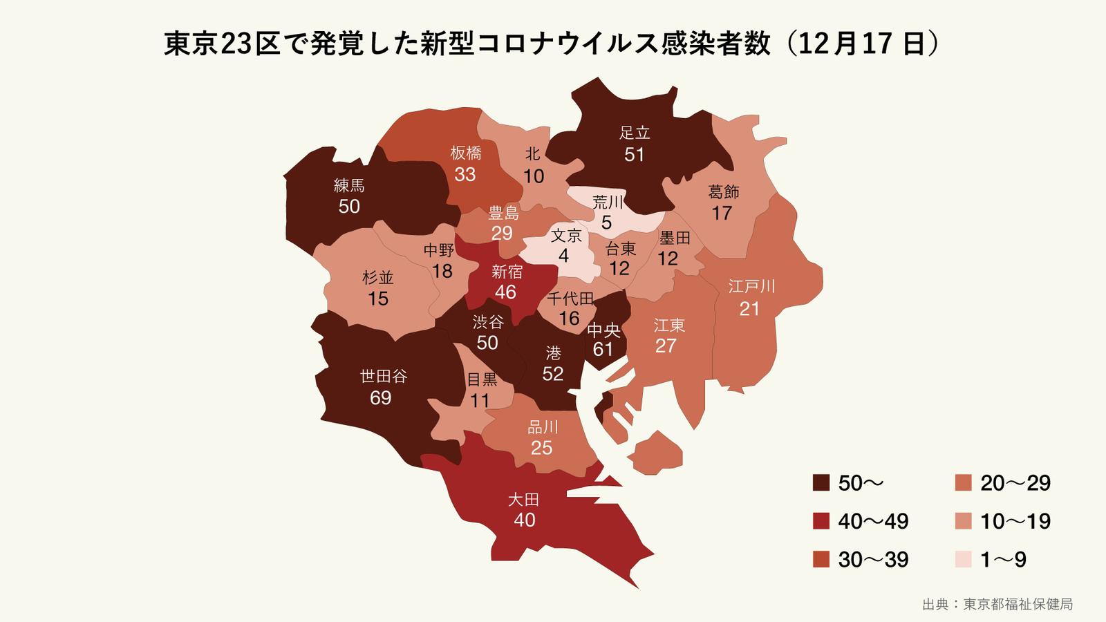 12月17日に発覚した東京23区の区ごとの新型コロナウイルス感染者数(マップ)