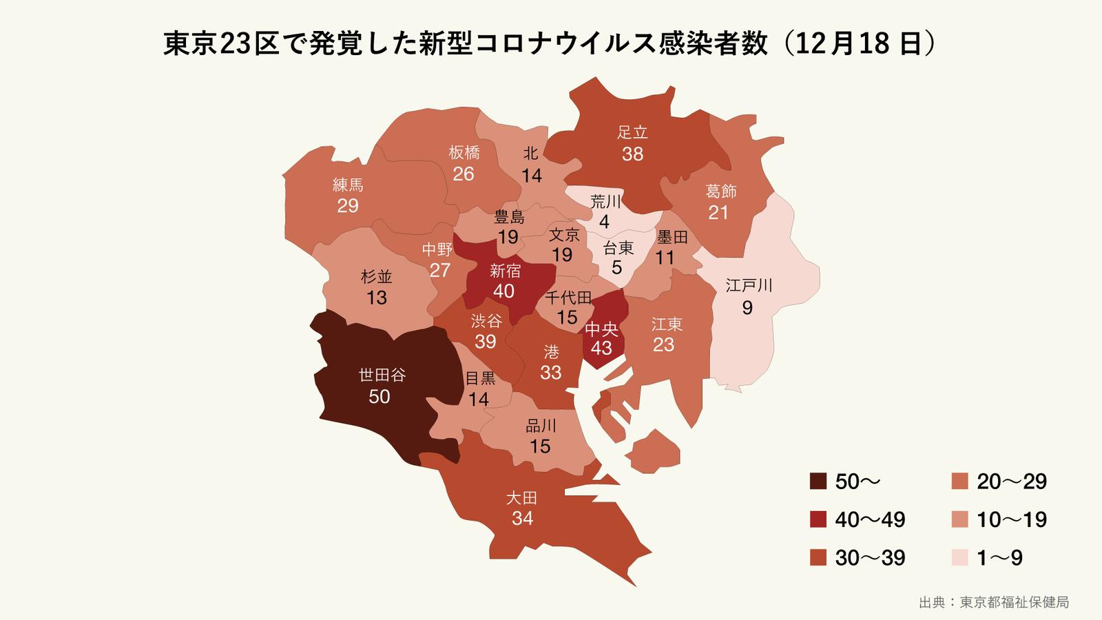 12月18日に発覚した東京23区の区ごとの新型コロナウイルス感染者数(マップ)