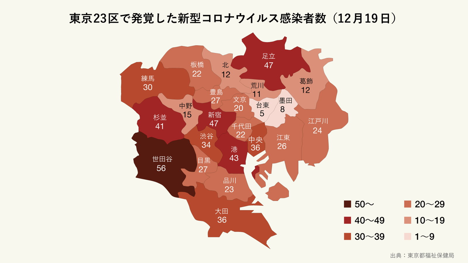 12月19日に発覚した東京23区の区ごとの新型コロナウイルス感染者数(マップ)