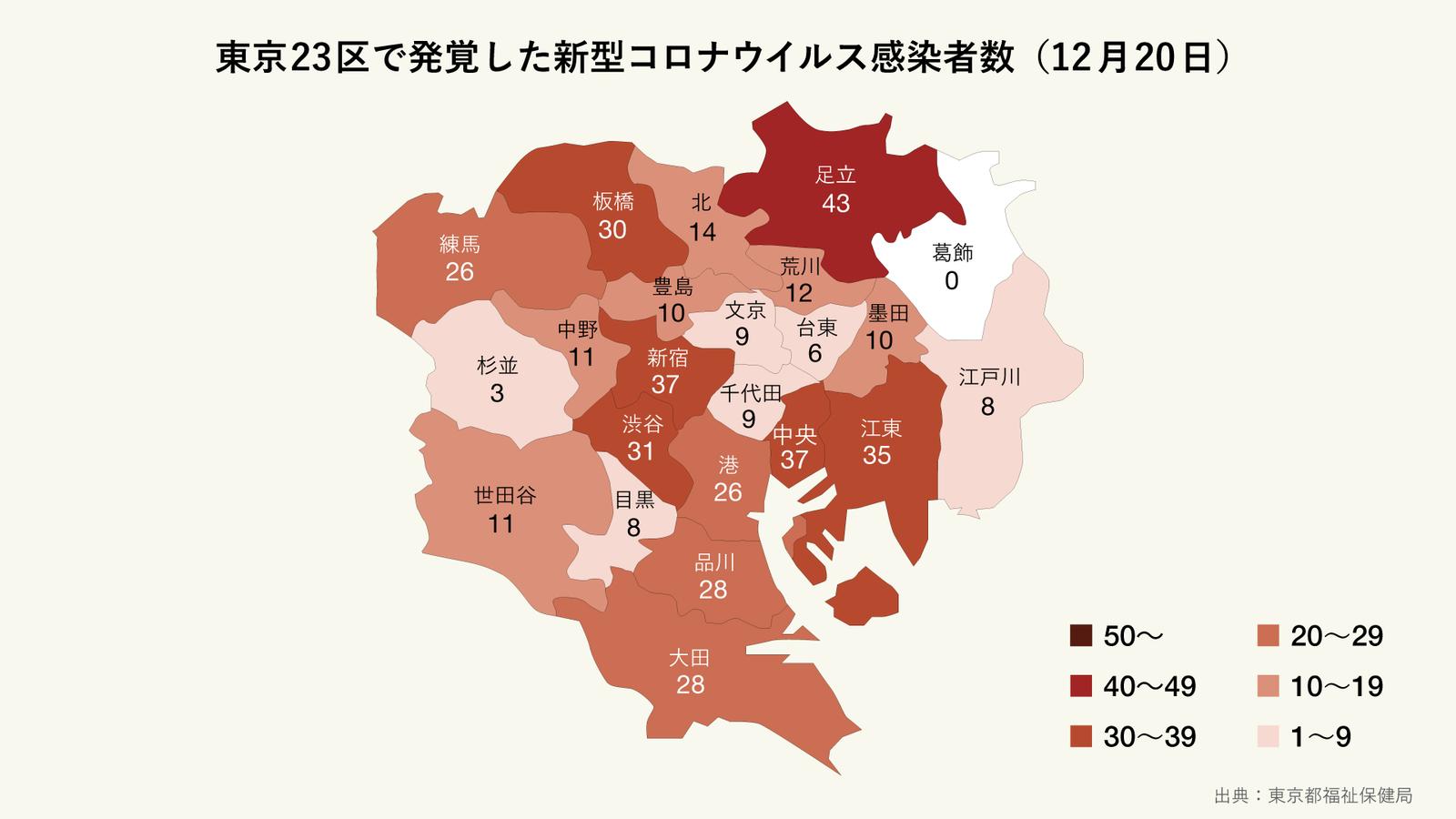 12月20日に発覚した東京23区の区ごとの新型コロナウイルス感染者数(マップ)