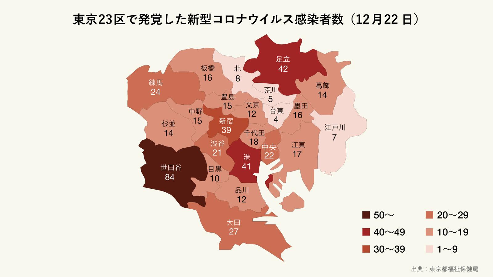 12月22日に発覚した東京23区の区ごとの新型コロナウイルス感染者数(マップ)