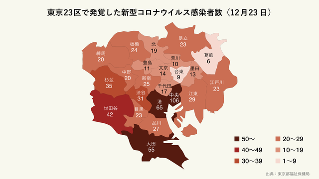 12月23日に発覚した東京23区の区ごとの新型コロナウイルス感染者数(マップ)