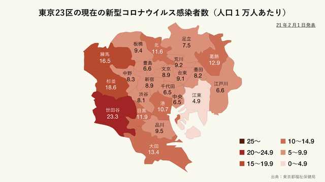 東京23区の現在の新型コロナウイルス感染者(人口1万人あたり)の分布マップ
